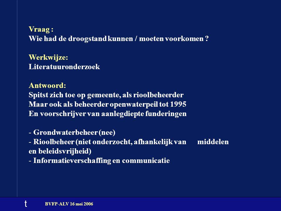 t BVFP-ALV 16 mei 2006 Vraag : Wie had de droogstand kunnen / moeten voorkomen ? Werkwijze: Literatuuronderzoek Antwoord: Spitst zich toe op gemeente,