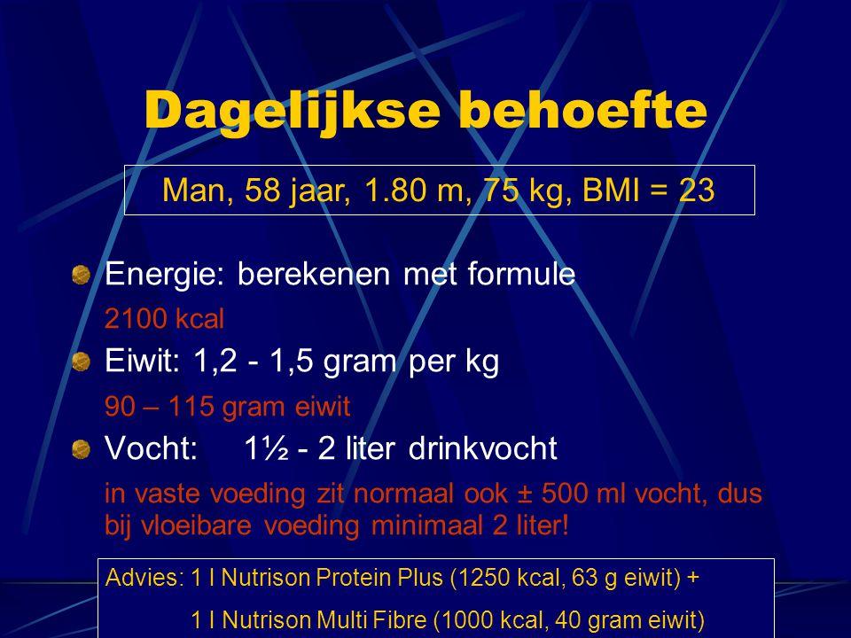 Dagelijkse behoefte Energie: berekenen met formule 2100 kcal Eiwit: 1,2 - 1,5 gram per kg 90 – 115 gram eiwit Vocht:1½ - 2 liter drinkvocht in vaste v