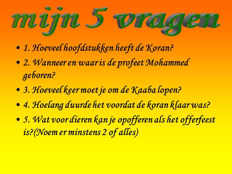 •1. Hoeveel hoofdstukken heeft de Koran? •2. Wanneer en waar is de profeet Mohammed geboren? •3. Hoeveel keer moet je om de Kaaba lopen? •4. Hoelang d