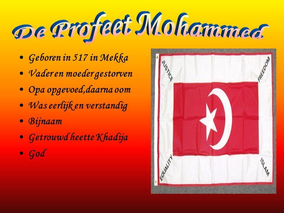 •Geboren in 517 in Mekka •Vader en moeder gestorven •Opa opgevoed,daarna oom •Was eerlijk en verstandig •Bijnaam •Getrouwd heette Khadija •God