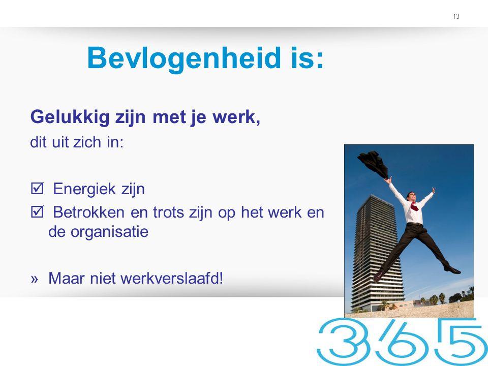13 Bevlogenheid is: Gelukkig zijn met je werk, dit uit zich in:  Energiek zijn  Betrokken en trots zijn op het werk en de organisatie »Maar niet wer