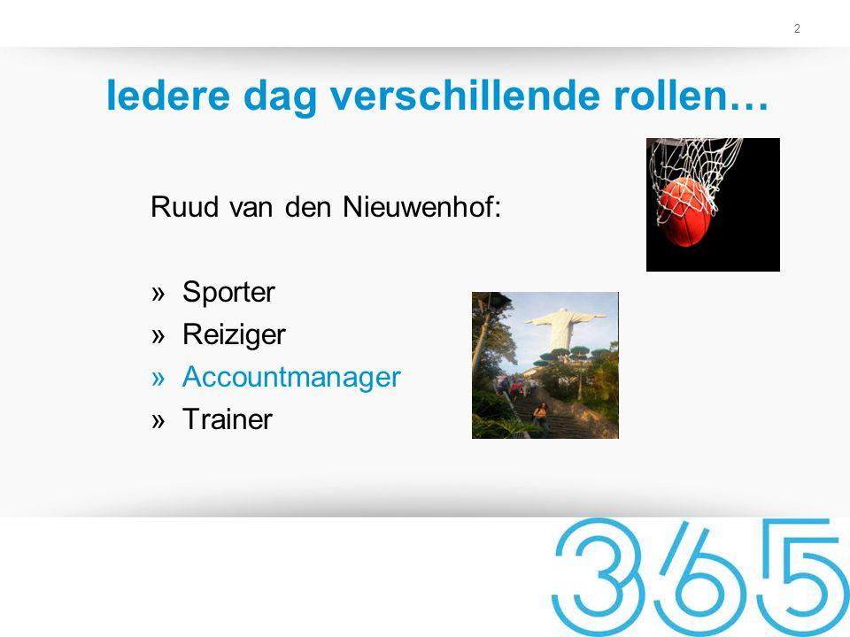 2 Iedere dag verschillende rollen… Ruud van den Nieuwenhof: »Sporter »Reiziger »Accountmanager »Trainer