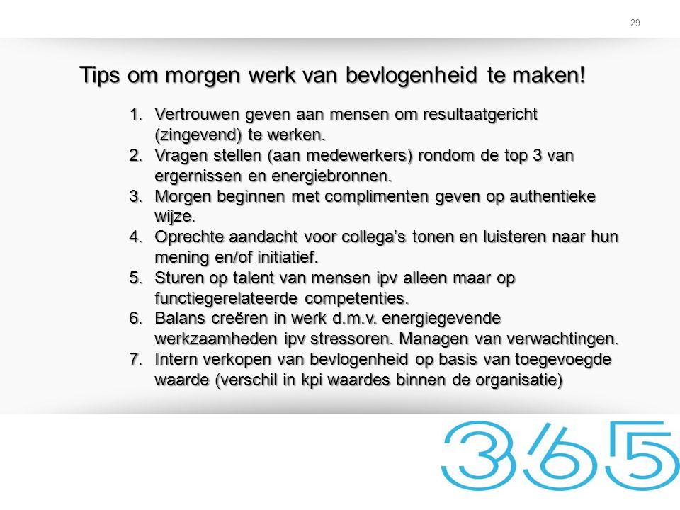 29 Tips om morgen werk van bevlogenheid te maken! 1.Vertrouwen geven aan mensen om resultaatgericht (zingevend) te werken. 2.Vragen stellen (aan medew