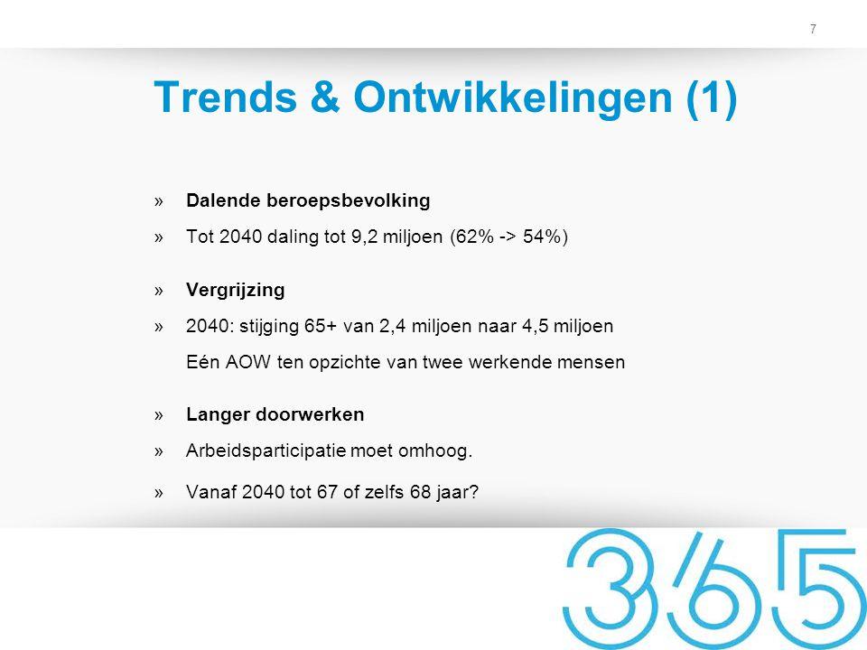 7 Trends & Ontwikkelingen (1) »Dalende beroepsbevolking »Tot 2040 daling tot 9,2 miljoen (62% -> 54%) »Vergrijzing »2040: stijging 65+ van 2,4 miljoen