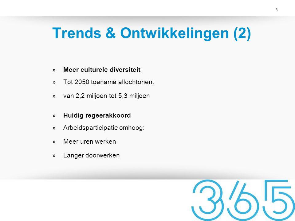 8 Trends & Ontwikkelingen (2) »Meer culturele diversiteit »Tot 2050 toename allochtonen: »van 2,2 miljoen tot 5,3 miljoen »Huidig regeerakkoord »Arbei