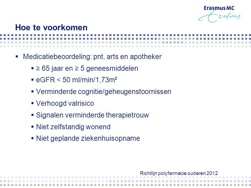 medicatiebeoordeling  Indicatie voor elk medicament.