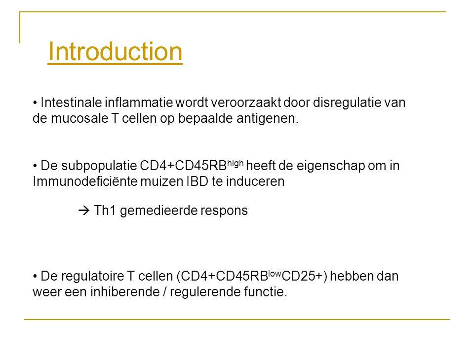 Introduction • Intestinale inflammatie wordt veroorzaakt door disregulatie van de mucosale T cellen op bepaalde antigenen. • De subpopulatie CD4+CD45R