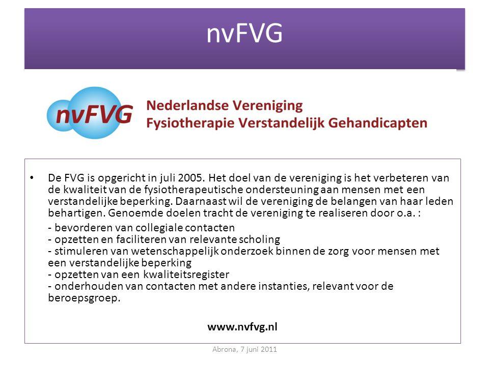 nvFVG • De FVG is opgericht in juli 2005. Het doel van de vereniging is het verbeteren van de kwaliteit van de fysiotherapeutische ondersteuning aan m