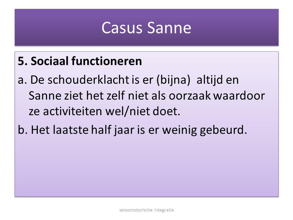 Casus Sanne 5. Sociaal functioneren a. De schouderklacht is er (bijna) altijd en Sanne ziet het zelf niet als oorzaak waardoor ze activiteiten wel/nie