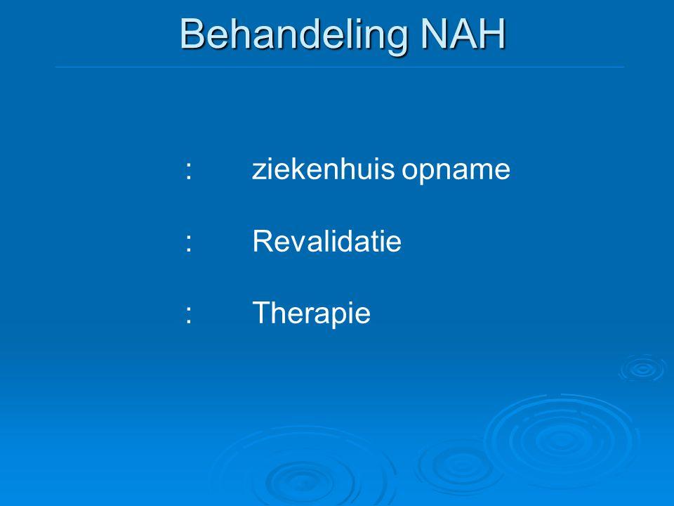 Behandeling NAH :ziekenhuis opname :Revalidatie :Therapie