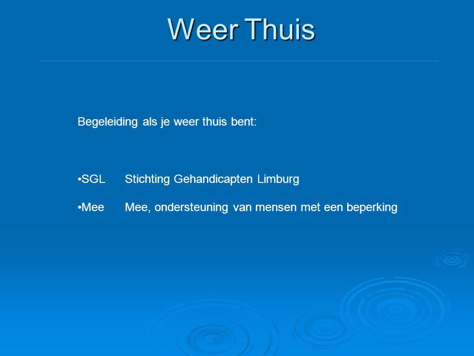 Weer Thuis Begeleiding als je weer thuis bent: •SGLStichting Gehandicapten Limburg •MeeMee, ondersteuning van mensen met een beperking