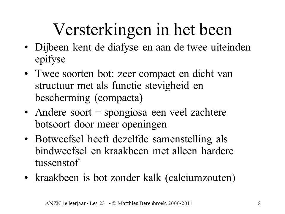 ANZN 1e leerjaar - Les 23 - © Matthieu Berenbroek, 2000-20119 Groei beenderen •Platte beenderen zoals schedel (directe verbening) geen holle binnenkant –Groei vanuit de buitenkant, de osteoblasten.
