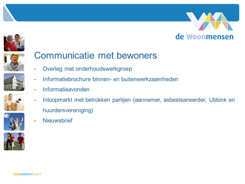 Communicatie met bewoners -Overleg met onderhoudswerkgroep -Informatiebrochure binnen- en buitenwerkzaamheden -Informatieavonden -Inloopmarkt met betr