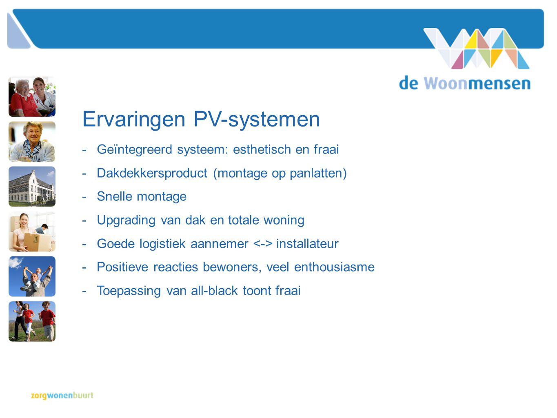 Ervaringen PV-systemen -Geïntegreerd systeem: esthetisch en fraai -Dakdekkersproduct (montage op panlatten) -Snelle montage -Upgrading van dak en tota