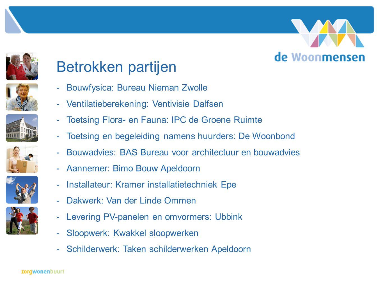 Betrokken partijen -Bouwfysica: Bureau Nieman Zwolle -Ventilatieberekening: Ventivisie Dalfsen -Toetsing Flora- en Fauna: IPC de Groene Ruimte -Toetsi