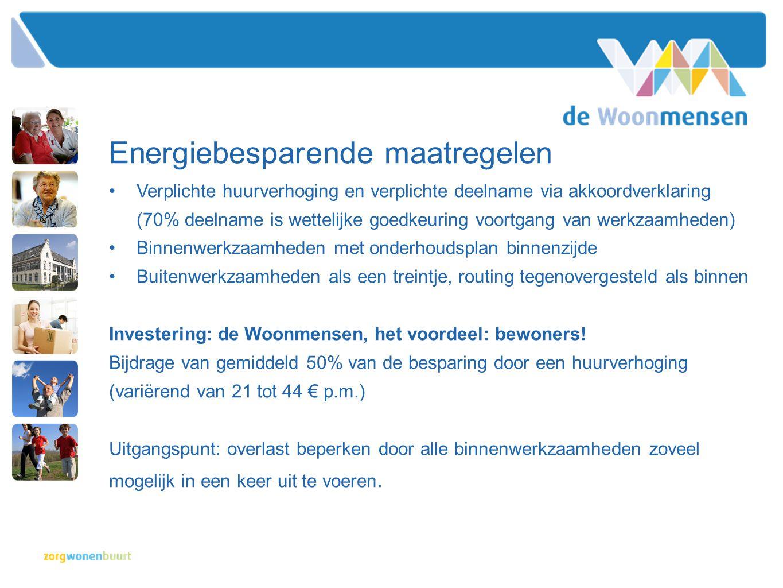 Energiebesparende maatregelen •Verplichte huurverhoging en verplichte deelname via akkoordverklaring (70% deelname is wettelijke goedkeuring voortgang