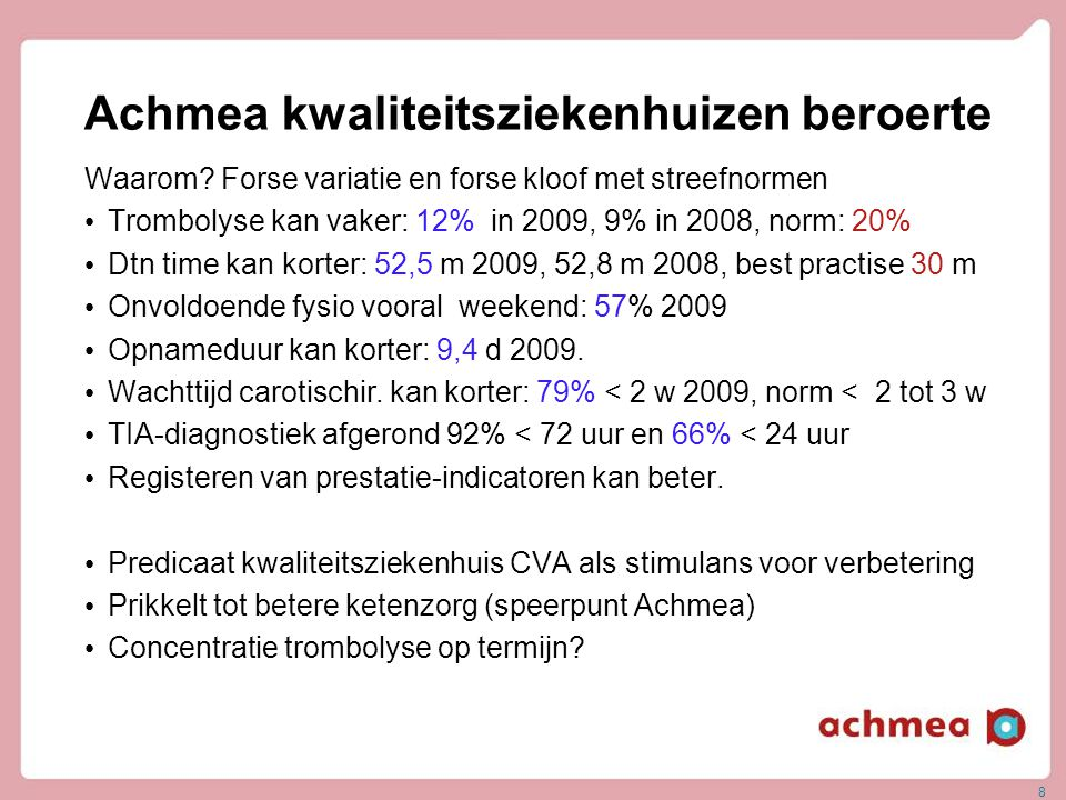 Achmea kwaliteitsziekenhuizen beroerte Waarom? Forse variatie en forse kloof met streefnormen • Trombolyse kan vaker: 12% in 2009, 9% in 2008, norm: 2