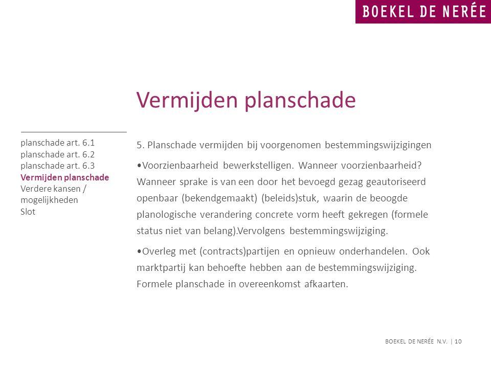 BOEKEL DE NERÉE N.V. | 10 5. Planschade vermijden bij voorgenomen bestemmingswijzigingen •Voorzienbaarheid bewerkstelligen. Wanneer voorzienbaarheid?