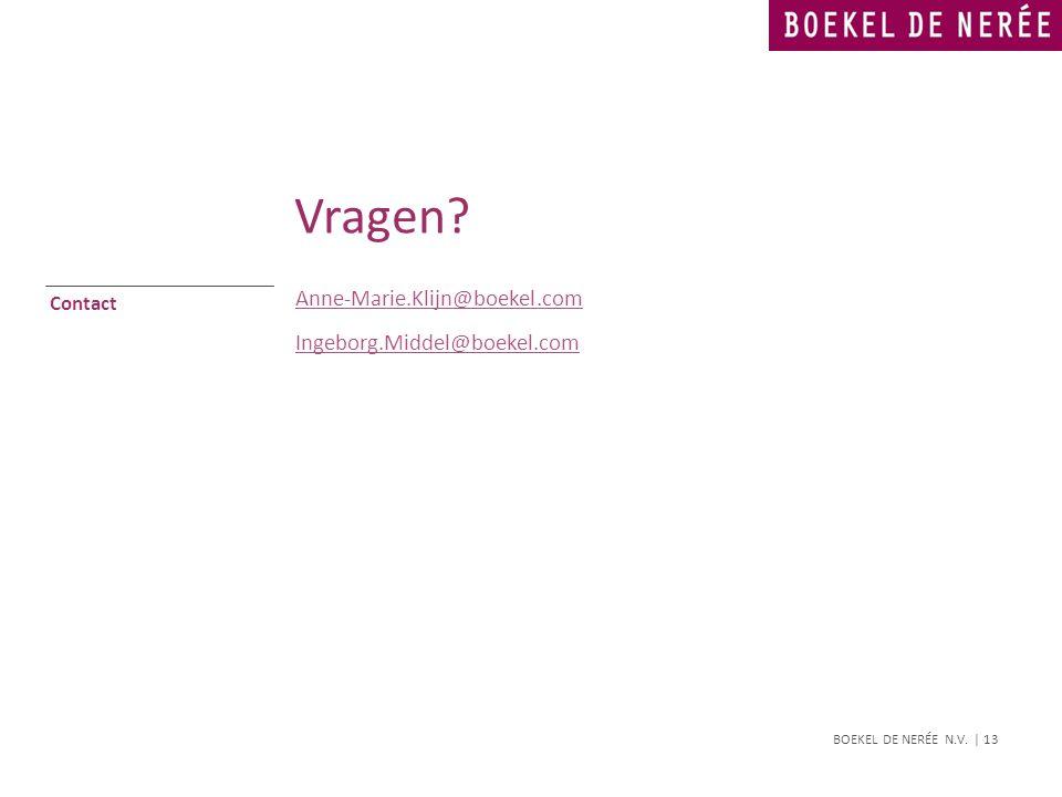 BOEKEL DE NERÉE N.V. | 13 Contact Anne-Marie.Klijn@boekel.com Ingeborg.Middel@boekel.com Vragen?