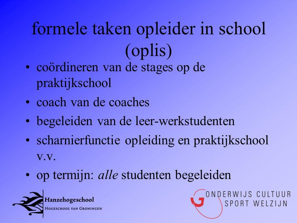 formele taken opleider in school (oplis) •coördineren van de stages op de praktijkschool •coach van de coaches •begeleiden van de leer-werkstudenten •