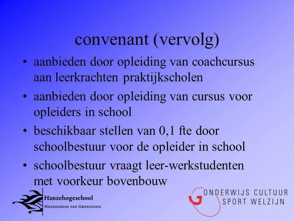 convenant (vervolg) •aanbieden door opleiding van coachcursus aan leerkrachten praktijkscholen •aanbieden door opleiding van cursus voor opleiders in