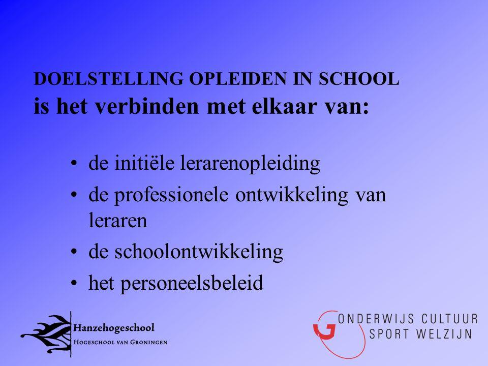 DOELSTELLING OPLEIDEN IN SCHOOL is het verbinden met elkaar van: •de initiële lerarenopleiding •de professionele ontwikkeling van leraren •de schoolon