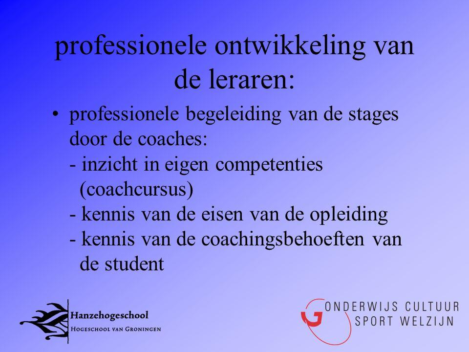 professionele ontwikkeling van de leraren: •professionele begeleiding van de stages door de coaches: - inzicht in eigen competenties (coachcursus) - k