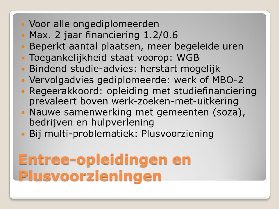 Entree-opleidingen en Plusvoorzieningen  Voor alle ongediplomeerden  Max. 2 jaar financiering 1.2/0.6  Beperkt aantal plaatsen, meer begeleide uren