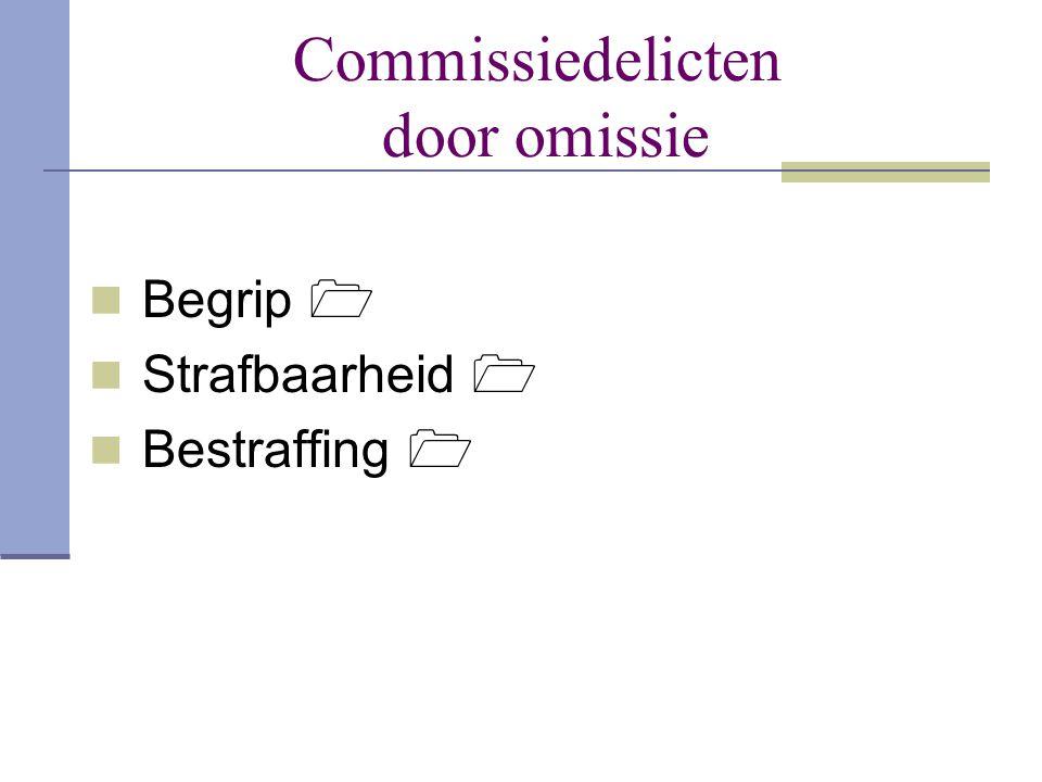 Commissiedelicten door omissie  Begrip   Strafbaarheid   Bestraffing 