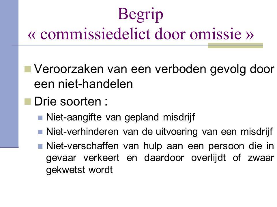 Begrip « commissiedelict door omissie »  Veroorzaken van een verboden gevolg door een niet-handelen  Drie soorten :  Niet-aangifte van gepland misd