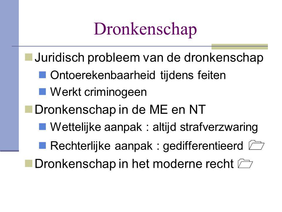 Dronkenschap  Juridisch probleem van de dronkenschap  Ontoerekenbaarheid tijdens feiten  Werkt criminogeen  Dronkenschap in de ME en NT  Wettelij