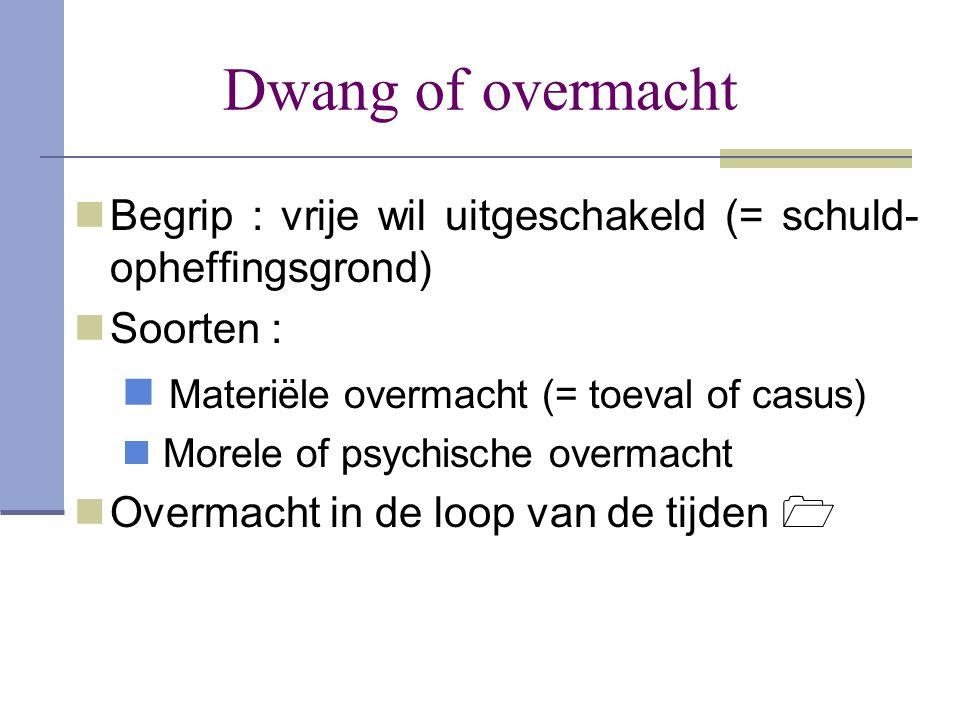 Dwang of overmacht  Begrip : vrije wil uitgeschakeld (= schuld- opheffingsgrond)  Soorten :  Materiële overmacht (= toeval of casus)  Morele of ps