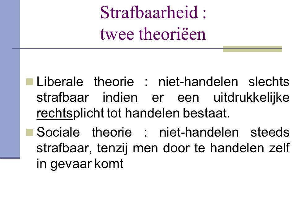 Strafbaarheid : twee theoriëen  Liberale theorie : niet-handelen slechts strafbaar indien er een uitdrukkelijke rechtsplicht tot handelen bestaat. 