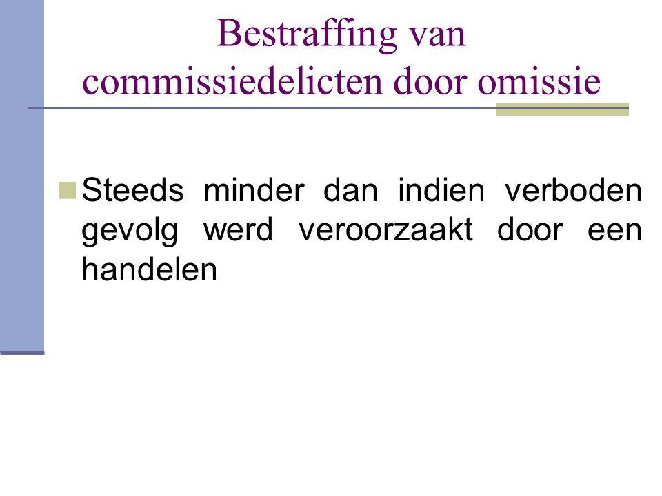 Bestraffing van commissiedelicten door omissie  Steeds minder dan indien verboden gevolg werd veroorzaakt door een handelen