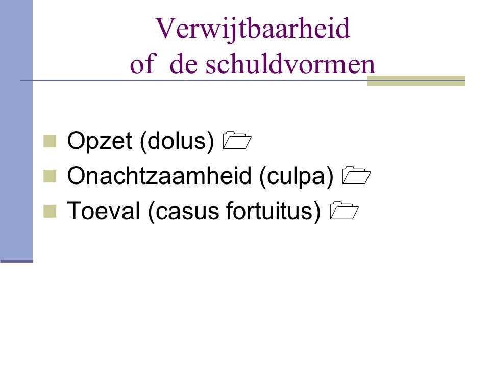 Verwijtbaarheid of de schuldvormen  Opzet (dolus)   Onachtzaamheid (culpa)   Toeval (casus fortuitus) 