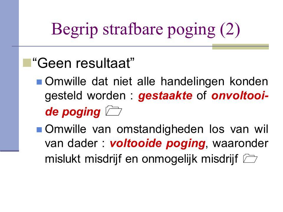 """Begrip strafbare poging (2)  """"Geen resultaat""""  Omwille dat niet alle handelingen konden gesteld worden : gestaakte of onvoltooi- de poging   Omwil"""