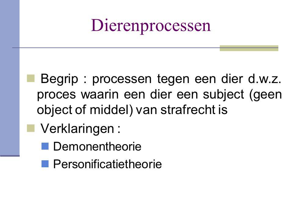 Dierenprocessen  Begrip : processen tegen een dier d.w.z. proces waarin een dier een subject (geen object of middel) van strafrecht is  Verklaringen