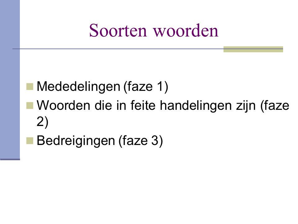 Soorten woorden  Mededelingen (faze 1)  Woorden die in feite handelingen zijn (faze 2)  Bedreigingen (faze 3)