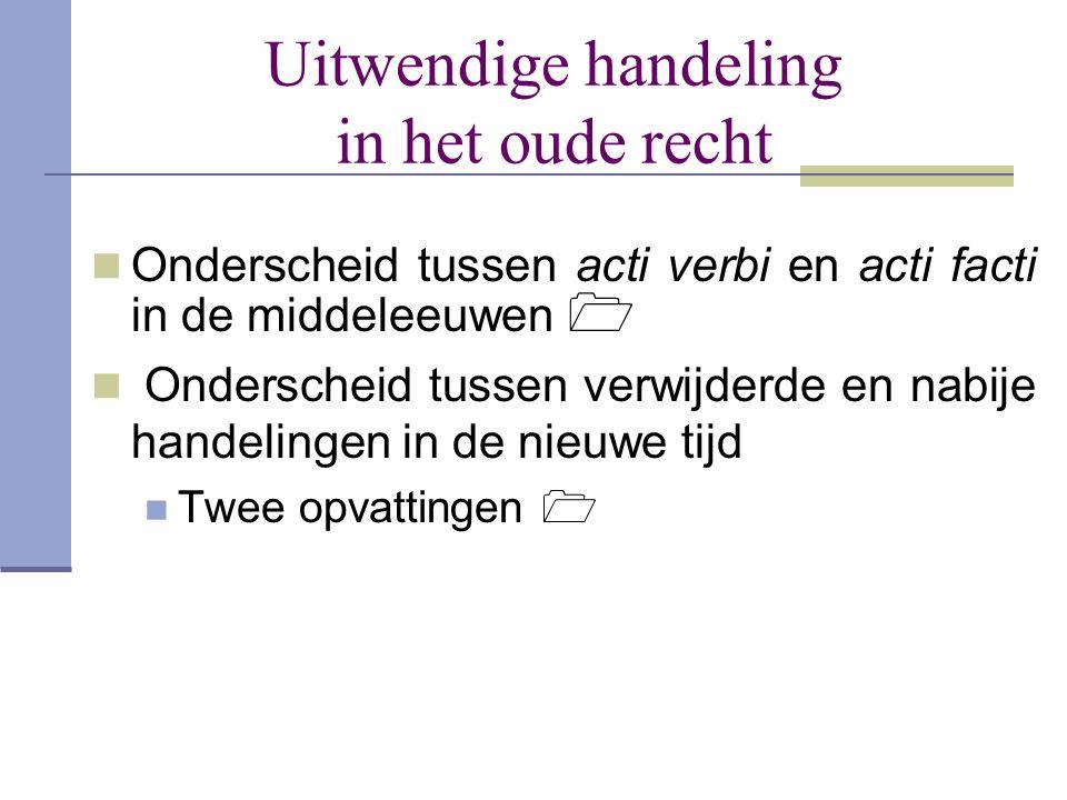 Uitwendige handeling in het oude recht  Onderscheid tussen acti verbi en acti facti in de middeleeuwen   Onderscheid tussen verwijderde en nabije h
