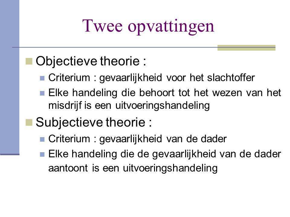 Twee opvattingen  Objectieve theorie :  Criterium : gevaarlijkheid voor het slachtoffer  Elke handeling die behoort tot het wezen van het misdrijf