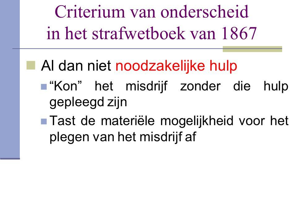 """Criterium van onderscheid in het strafwetboek van 1867  Al dan niet noodzakelijke hulp  """"Kon"""" het misdrijf zonder die hulp gepleegd zijn  Tast de m"""