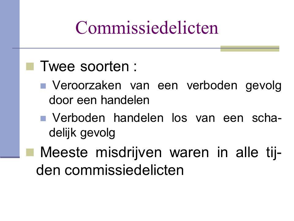 Commissiedelicten  Twee soorten :  Veroorzaken van een verboden gevolg door een handelen  Verboden handelen los van een scha- delijk gevolg  Meest