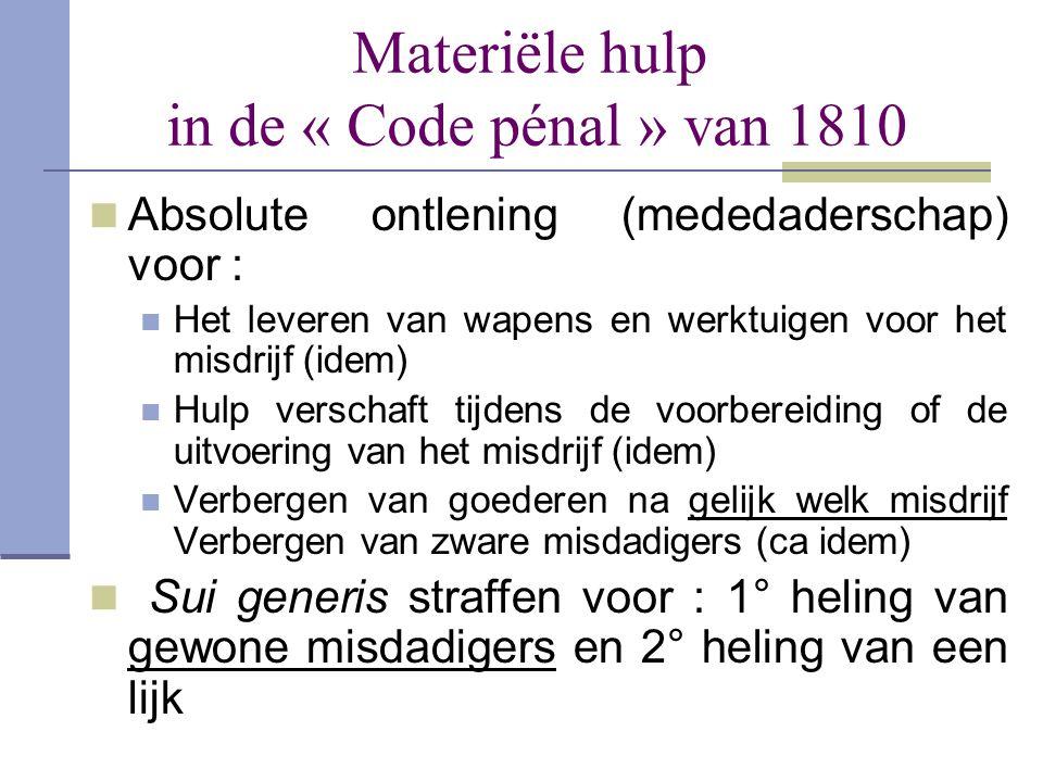 Materiële hulp in de « Code pénal » van 1810  Absolute ontlening (mededaderschap) voor :  Het leveren van wapens en werktuigen voor het misdrijf (id