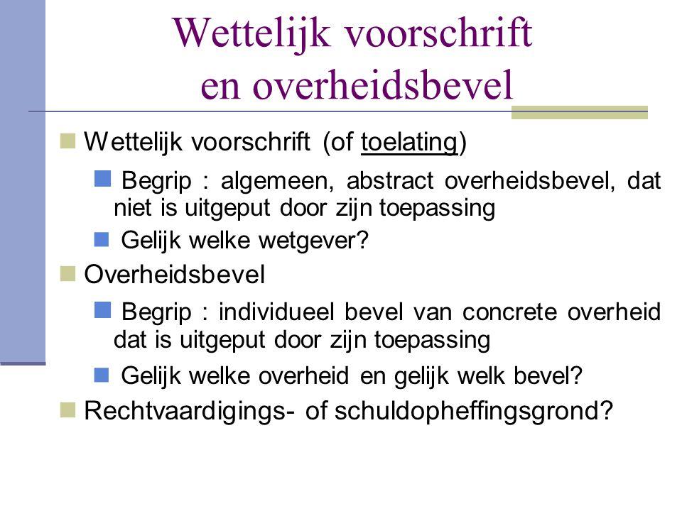 Wettelijk voorschrift en overheidsbevel  Wettelijk voorschrift (of toelating)  Begrip : algemeen, abstract overheidsbevel, dat niet is uitgeput door