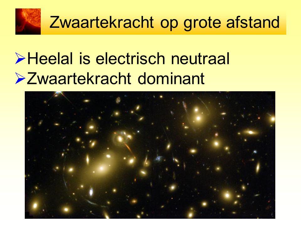 Zwaartekracht op grote afstand  Heelal is electrisch neutraal  Zwaartekracht dominant