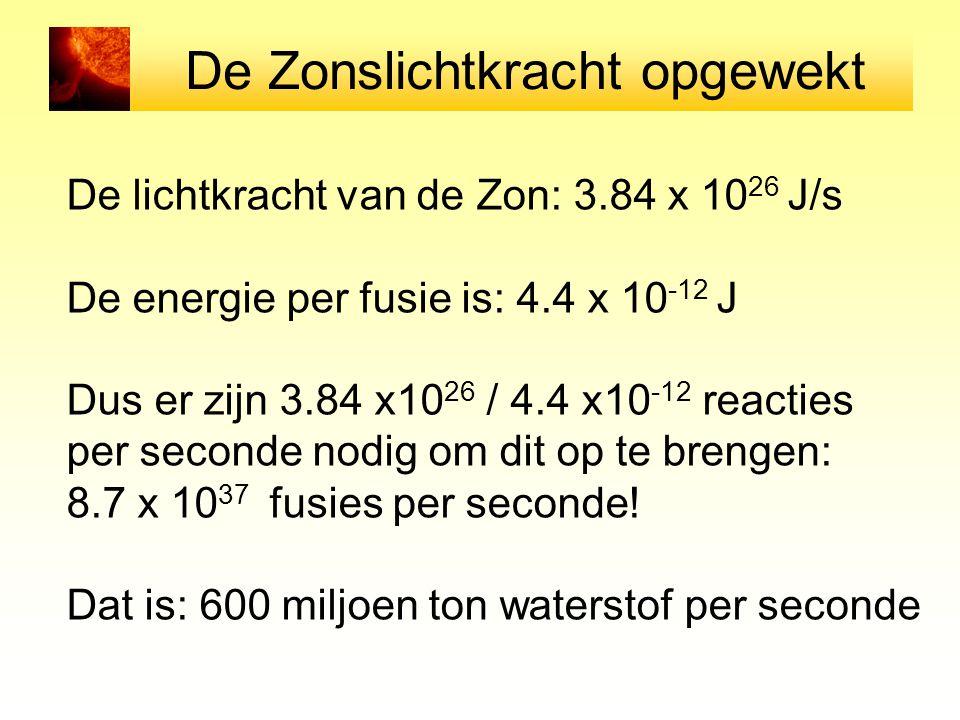 De Zonslichtkracht opgewekt De lichtkracht van de Zon: 3.84 x 10 26 J/s De energie per fusie is: 4.4 x 10 -12 J Dus er zijn 3.84 x10 26 / 4.4 x10 -12