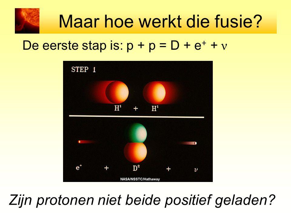 Maar hoe werkt die fusie? De eerste stap is: p + p = D + e + + ν Zijn protonen niet beide positief geladen?
