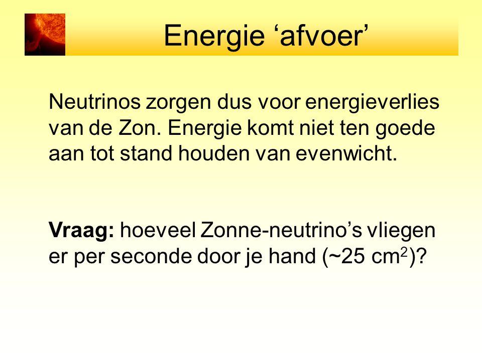 Energie 'afvoer' Neutrinos zorgen dus voor energieverlies van de Zon. Energie komt niet ten goede aan tot stand houden van evenwicht. Vraag: hoeveel Z