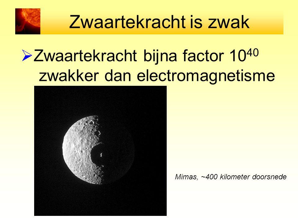 Zwaartekracht is zwak  Zwaartekracht bijna factor 10 40 zwakker dan electromagnetisme Mimas, ~400 kilometer doorsnede