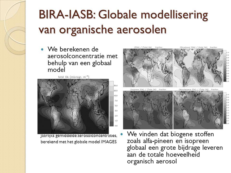 BIRA-IASB: Globale modellisering van organische aerosolen  We berekenen de aerosolconcentratie met behulp van een globaal model Jaarlijks gemiddelde aerosolconcentraties, berekend met het globale model IMAGES  We vinden dat biogene stoffen zoals alfa-pineen en isopreen globaal een grote bijdrage leveren aan de totale hoeveelheid organisch aerosol